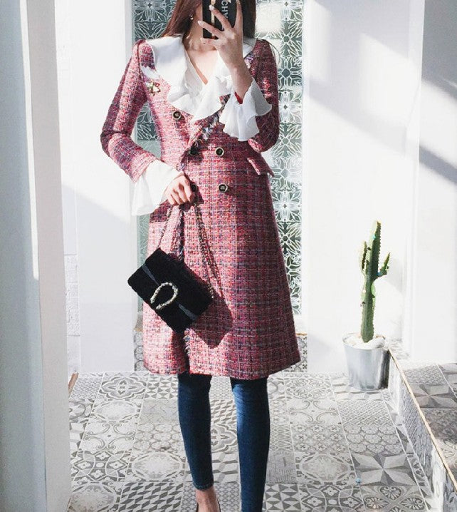 Martina Tweed Coat Red