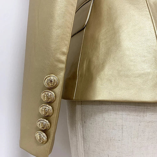 Kingdom Vegan Leather Jacket Gold