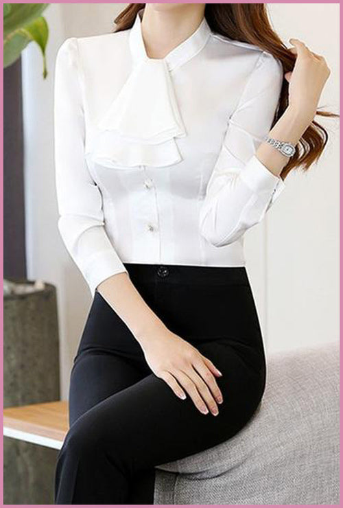 Crown Collar Blouse White