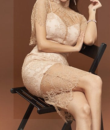 Theresa French Lace Dress Beige
