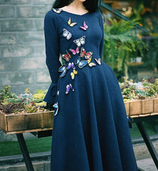 Butterfly Bloom Luxe Wool Dress