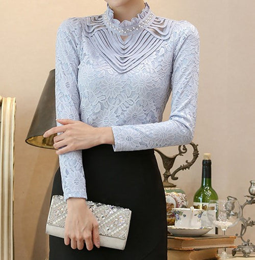 Annabella Beaded Collar Lace Blouse