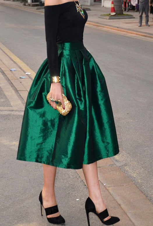 Evergreen Pleated Midi Skirt