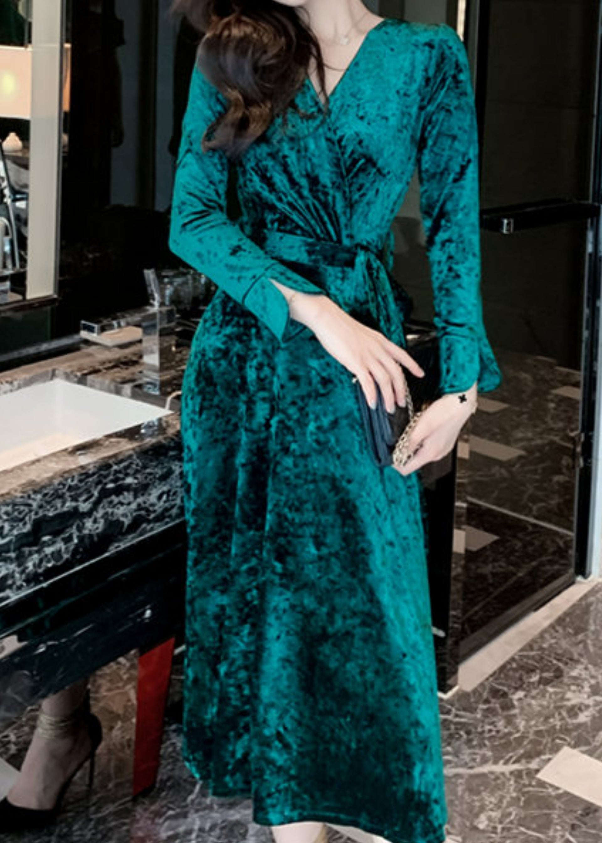 Philomena Velvet Dress Green