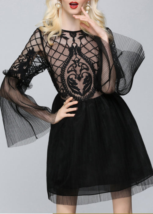 Emanuela Gauze Dress Black