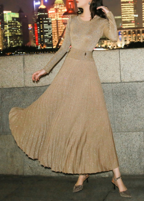 Star Pleated Knit Dress Champagne