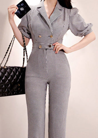 Estelle Rhinestone Collar Jumpsuit