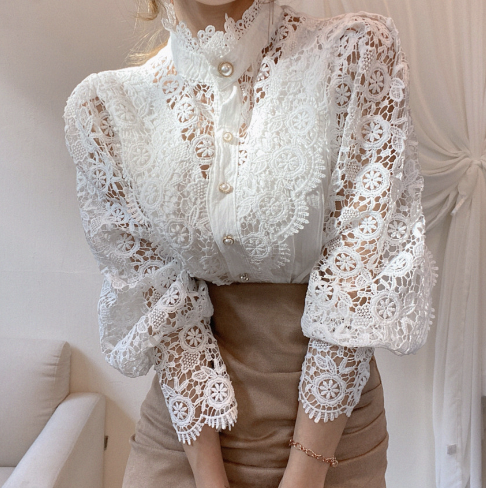 Kam Signature Lace Blouse White