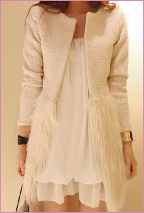 Splice Faux Fur Wool Coat