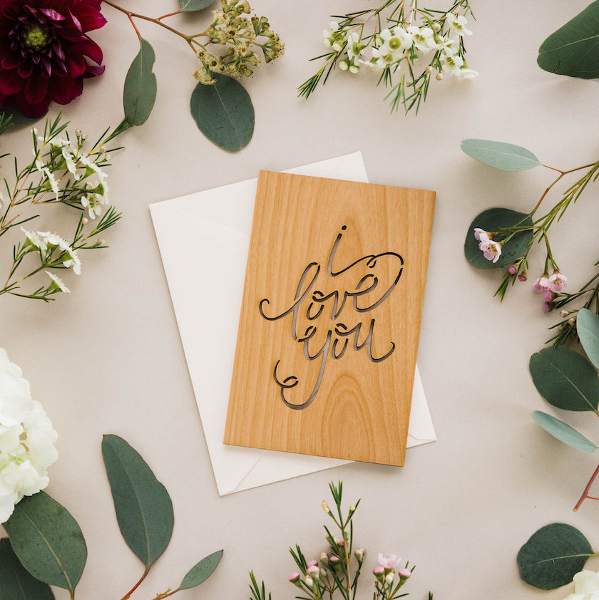 Hereafter I Love You Wood Laser Cut Love Card Anniversary Card Valentine's Day Card