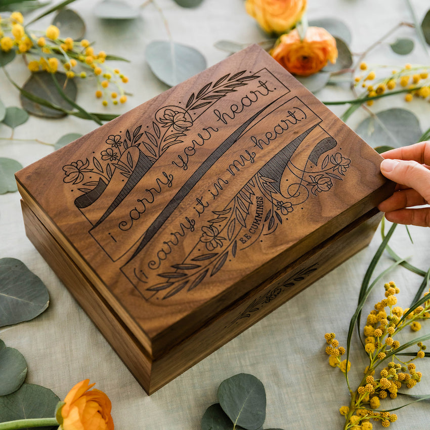 Hereafter Carry Your Heart e.e. cummings Wood Keepsake Box Laser Cut