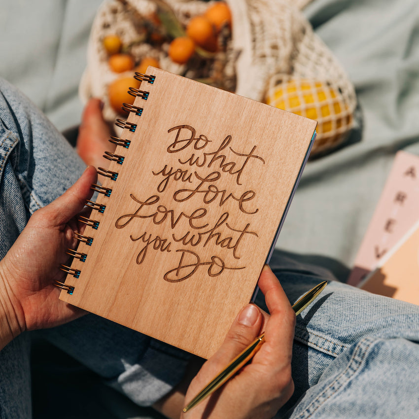 Hereafter Do What You Love Wood Laser Cut Journal