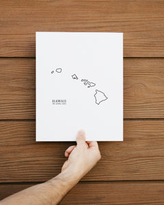 hawaii black and white minimalist print