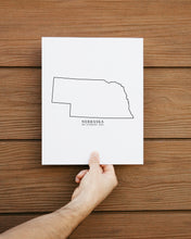 Load image into Gallery viewer, nebraska black and white minimalist print