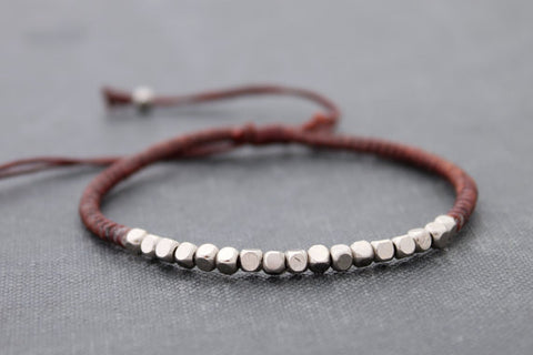 Brown Beaded Woven Bracelets Silver Cube Adjustable