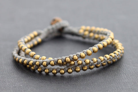 Tiger Eye Round Basic Brass Bracelet