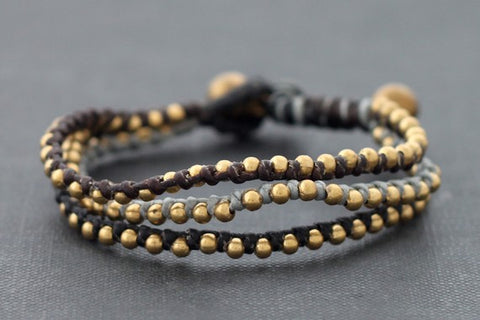 Black Rose Gold Beaded Bracelet/Wristband (Unisex)