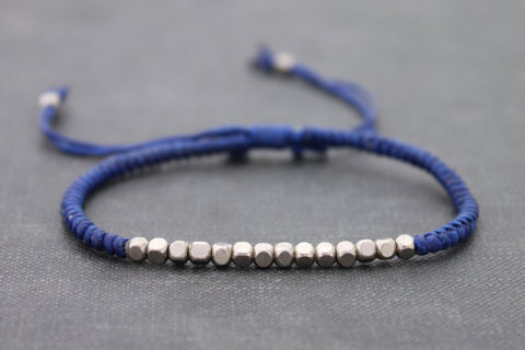 Blue Silver Cube Adjustable Men Unisex Woven Friendship Bracelet