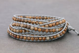 Beaded Bracelets Wrap Brown Jasper Grey Woven Men Unisex - Delicious California