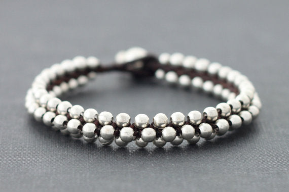Beaded Silver Round Bracelets Cuff - Delicious California