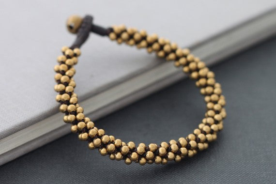 Brass Beaded Round Bracelet Cuff - Delicious California