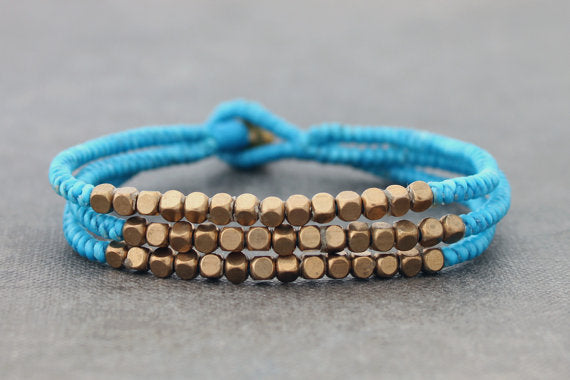 Cube Baby Blue Beaded Three Strand Bracelet - Delicious California