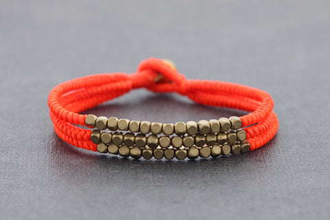 Cube Orange Fluorescent Beaded Three Strand Bracelet