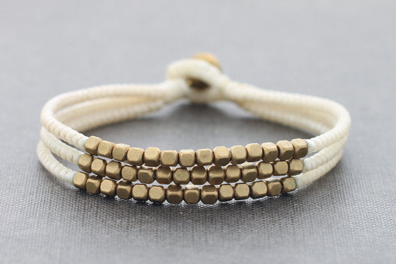 Cube Ivory Beaded Three Strand Bracelet - Delicious California