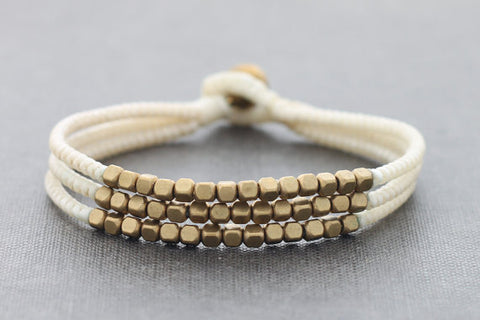 Cube Ivory Beaded Three Strand Bracelet