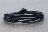 Braided Strand Woven Bracelets Men Unisex Black - Delicious California