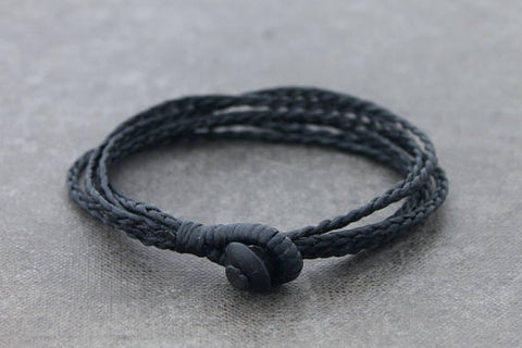 Braided Strand Woven Bracelets Men Unisex Black