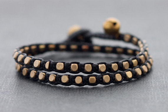 Black Brass Basic Double Wrap Bracelet - Delicious California
