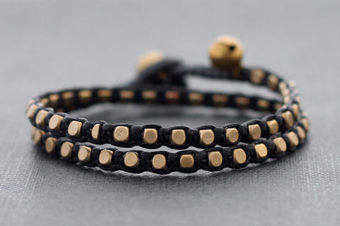 Black Brass Basic Double Wrap Bracelet