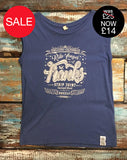 Women's Sleeveless Graphic T-Shirt- 'Franks Strip Joint' - Delicious California