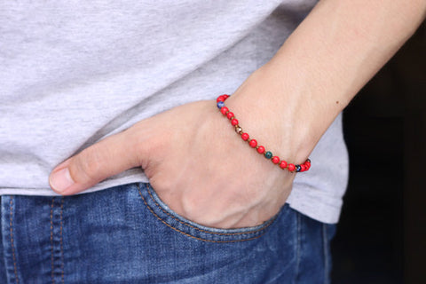 Coral Rust Brown Adjustable Bracelet