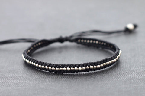 Black Beaded Adjustable Bracelet