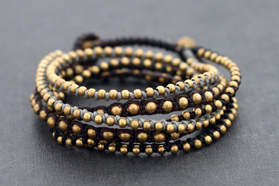 Boho Rock Warp Brass Bracelet - Delicious California