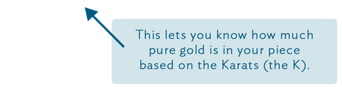 This lets you know how much pure gold is in your piece based on the Karats (the K).