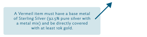 A Vermeil item must have a base metal of Sterling Silver (92.5% pure silver with a metal mix) and be directly covered with at least 10k gold.