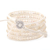 Crystal on White-Ivory Leather- Vegan