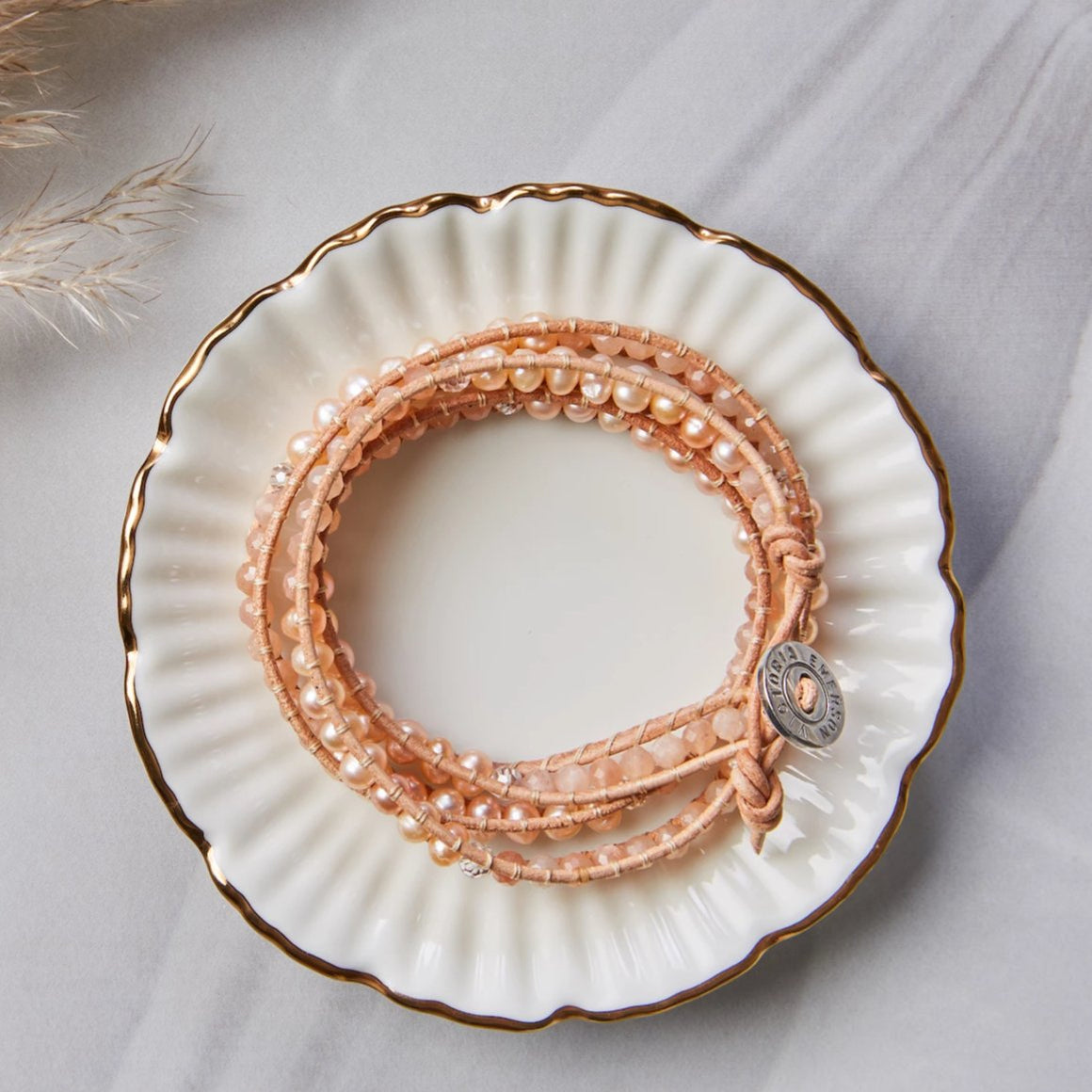 Peach Freshwater Pearls with Peach Crystals on Natural