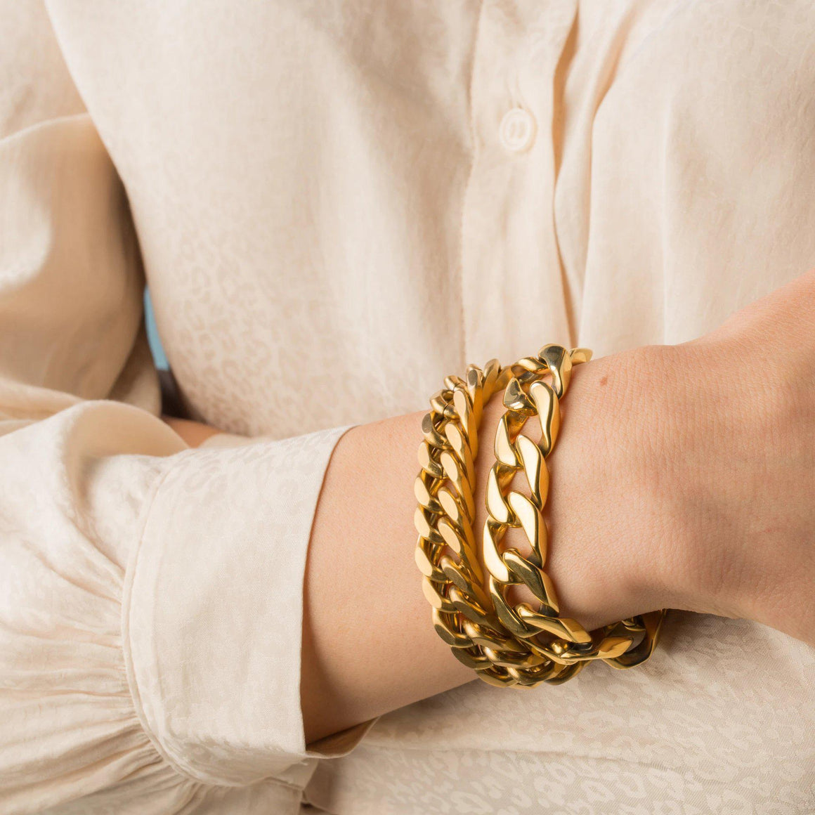 Chunky Heirloom Gold Chain Bracelet