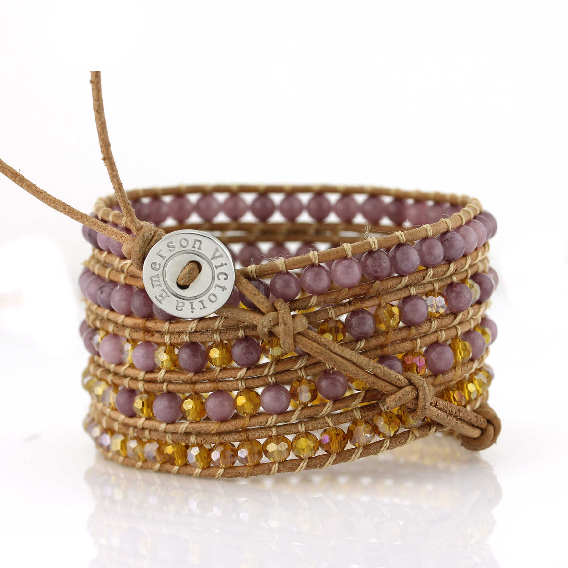 Purple beads and amber crystals on natural