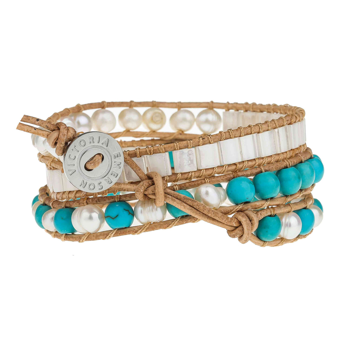 Freshwater Pearls and Turquoise on Natural