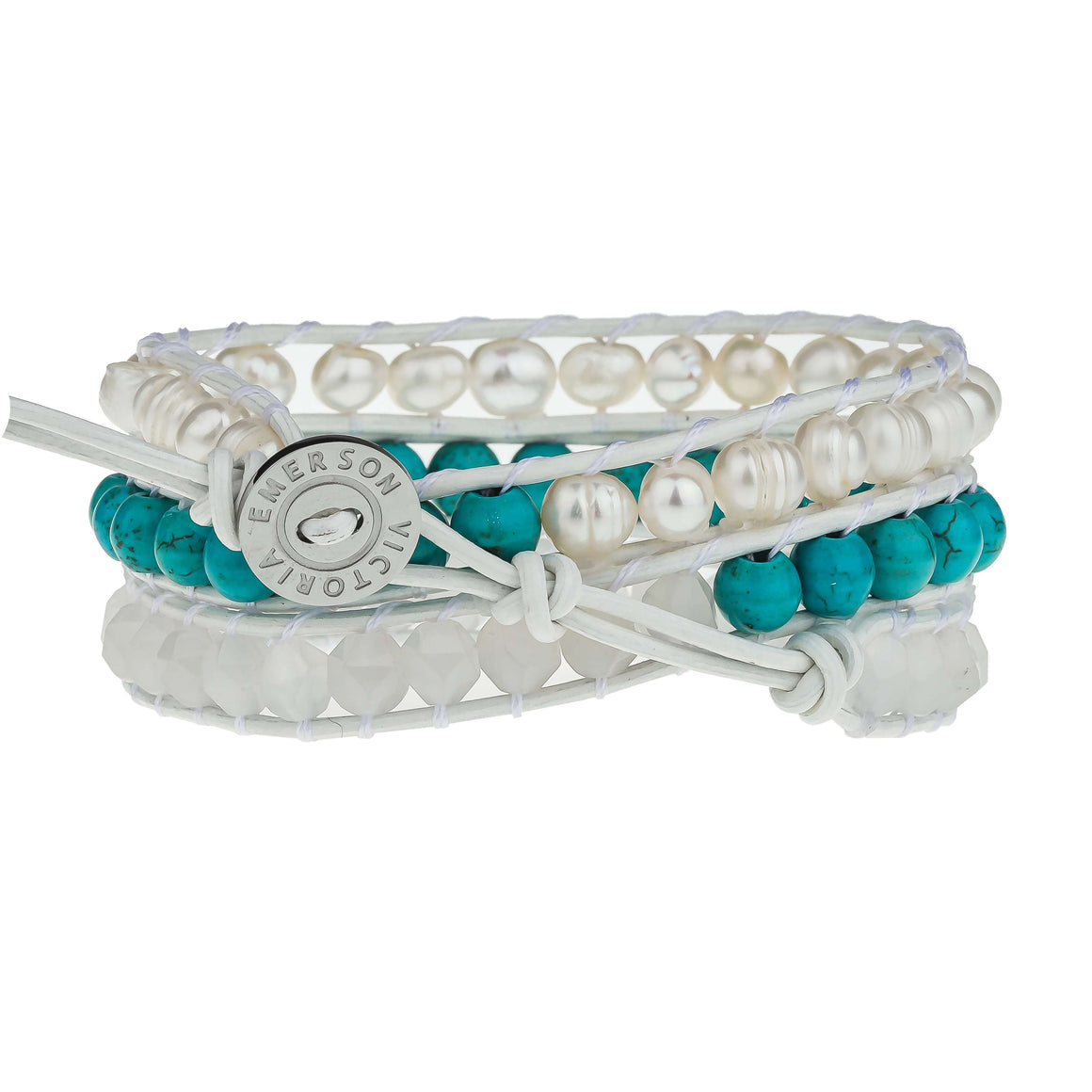 Freshwater Pearls and Turquoise on White