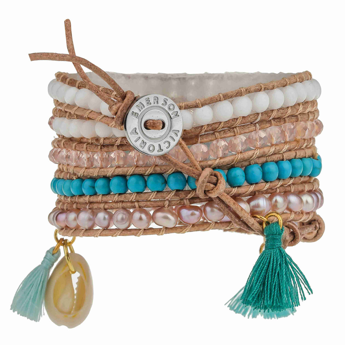 Rose Freshwater Pearls and Turquoise with Tassels on Natural