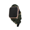 Dark Green Spotted Animal Print Apple Watch Strap on Gold