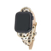 Snow Leopard Animal Print Apple Watch Strap on Gold