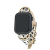 Snow Leopard Animal Print Apple Watch Strap on Silver