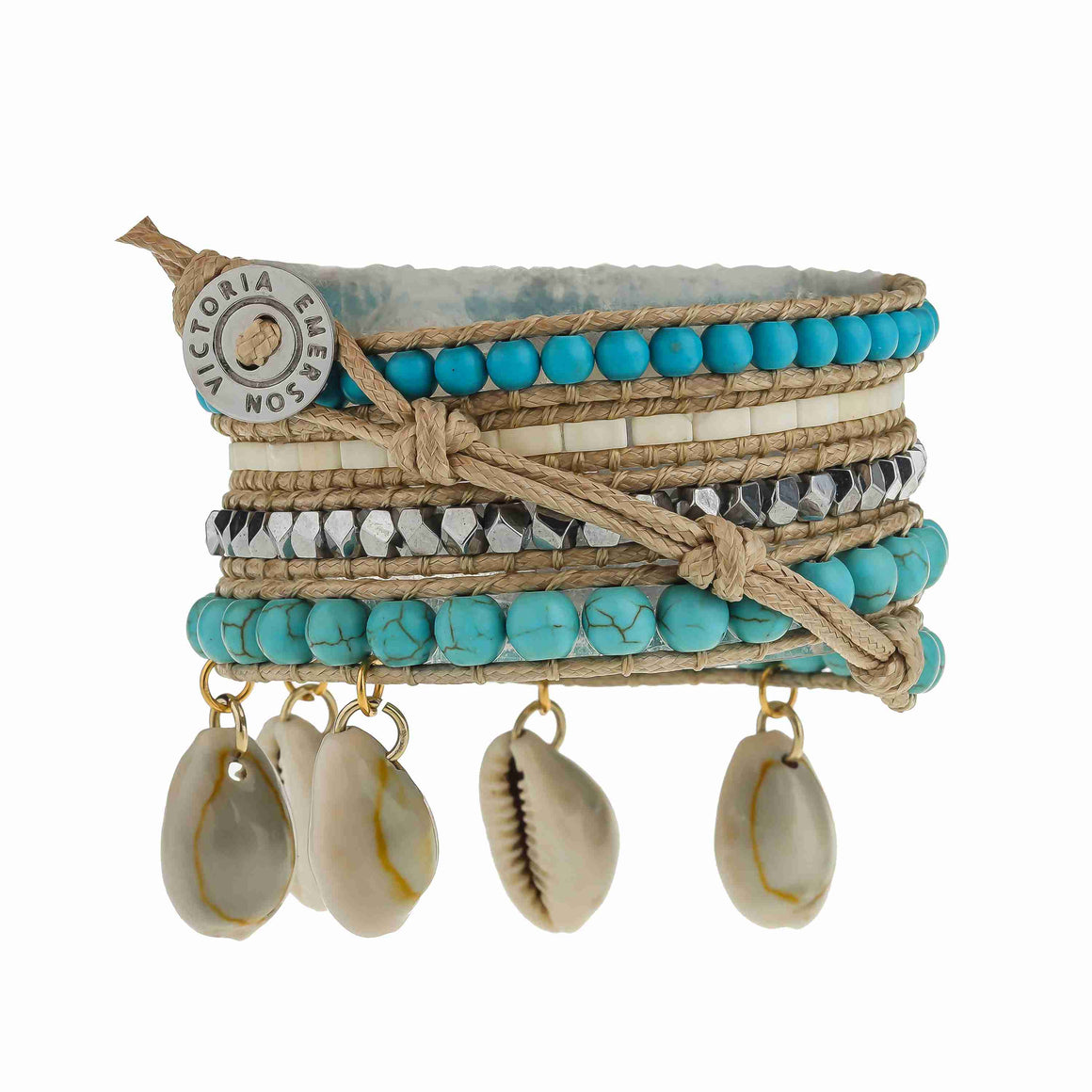 Large Silver Crystals with Turquoise and Shells on Natural- Vegan